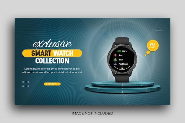 Szablon banera internetowego z promocją inteligentnego zegarka