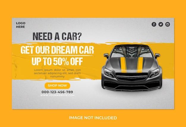 Szablon banera internetowej promocji sprzedaży samochodów