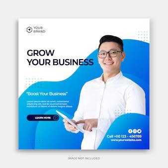 Szablon banera mediów społecznościowych z rozwinięciem koncepcji biznesowej post na instagramie z marketingu cyfrowego