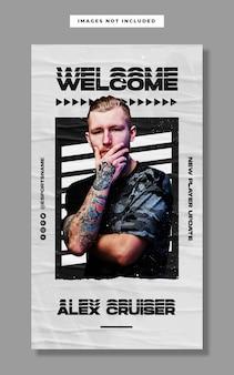 Szablon banera na instagramie z promocją nowego gracza e-sport
