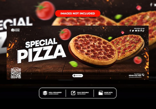 Szablon banera na okładkę na facebooku dla menu restauracji fast food