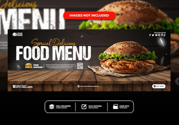 Szablon banera na okładkę na facebooku dla menu restauracji
