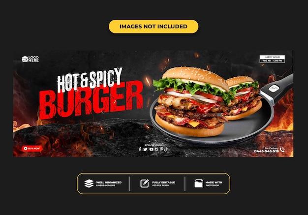 Szablon banera na okładkę na facebooku dla restauracji fast food menu burger