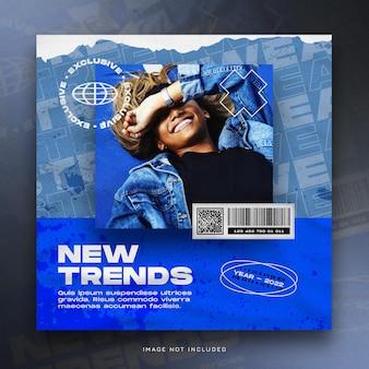 Szablon banera nowych trendów w mediach społecznościowych