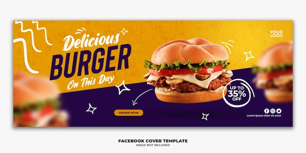 Szablon banera okładkowego na facebook specjalny burger menu fast food
