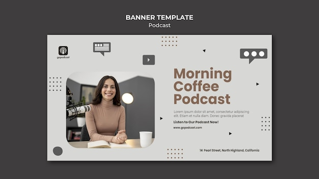 Szablon banera podcast ze zdjęciem