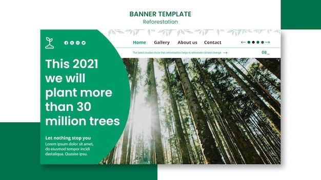 Szablon banera promocyjnego ponownego zalesiania