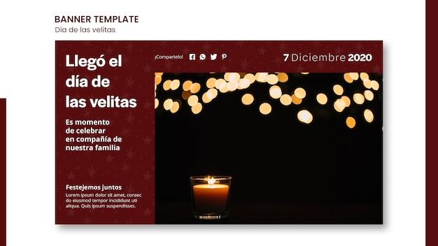 Szablon banera reklamowego dia de las velitas
