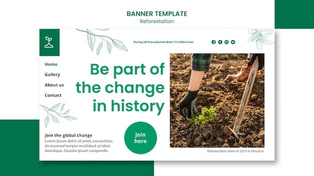 Szablon banera reklamowego dotyczącego ponownego zalesiania