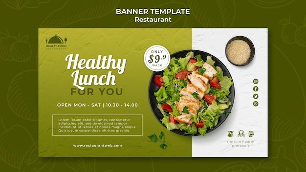 Szablon banera restauracji zdrowej żywności
