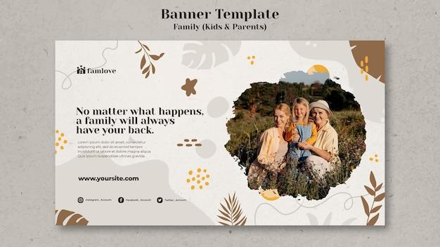 Szablon banera rodziny z rodzicami i dziećmi