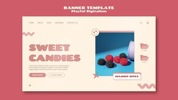 Szablon banera sklepu ze słodyczami