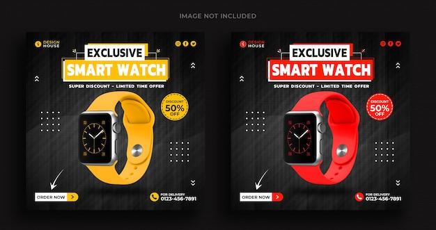 Szablon banera społecznościowego promocji kolekcji inteligentnego zegarka