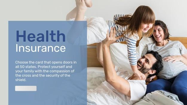 Szablon banera ubezpieczenia zdrowotnego psd z edytowalnym tekstem