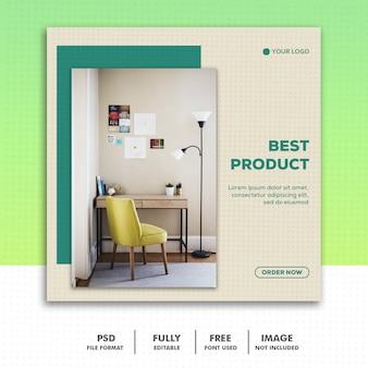 Szablon banerów społecznościowych instagram, meble best green