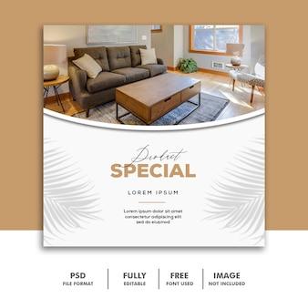 Szablon banerów społecznościowych instagram, special luxury furniture