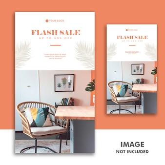 Szablon banerów społecznościowych instagram story, furniture luxury flash sale