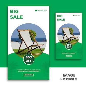 Szablon banerów społecznościowych instagram story, furniture luxury green sale