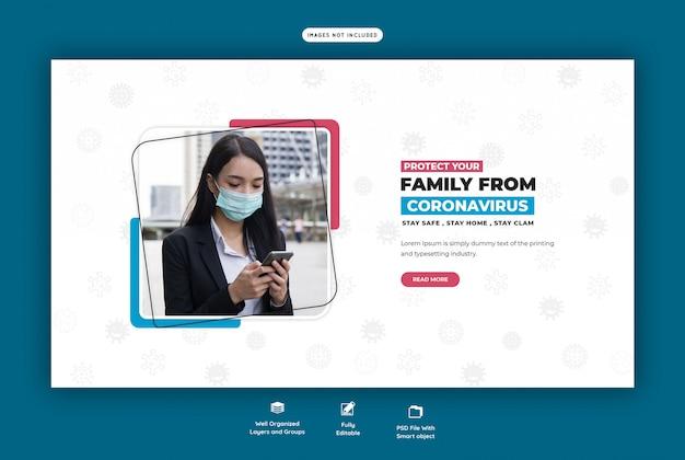 Szablon baneru internetowego koronawirusa lub covid-19