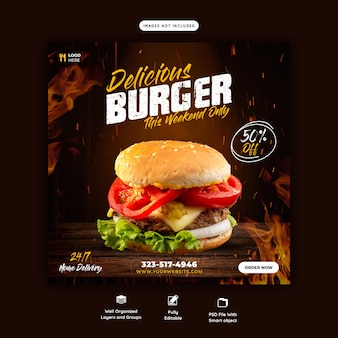 Szablon baneru mediów społecznościowych z pysznym burgerem i jedzeniem