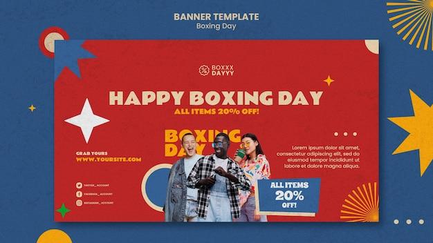 Szablon baneru poziomego boxing day w kolorach retro