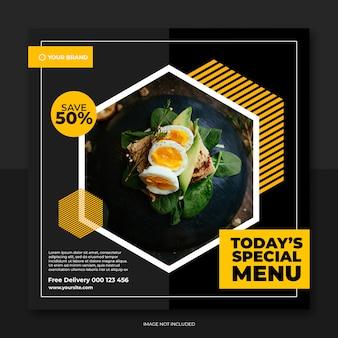 Szablon baneru restauracji i żywności szablon mediów społecznościowych