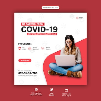 Szablon baneru społecznościowego coronavirus lub covid-19