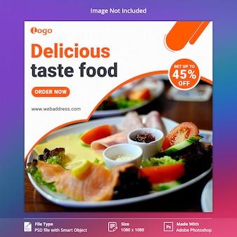 Szablon banner mediów społecznościowych smak żywności
