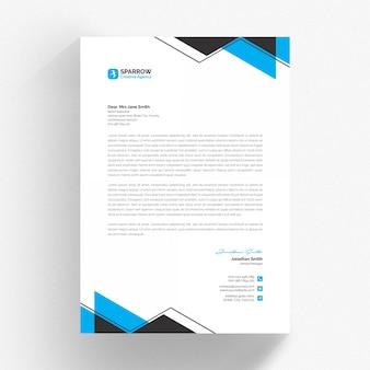 Szablon biały papier firmowy cv z niebieskim i szarym detalem
