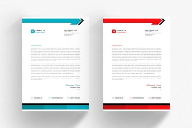 Szablon biały papier firmowy z akwarium i czerwone detale