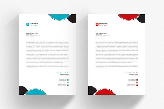 Szablon biały papier firmowy z czerwonymi i szarymi detalami