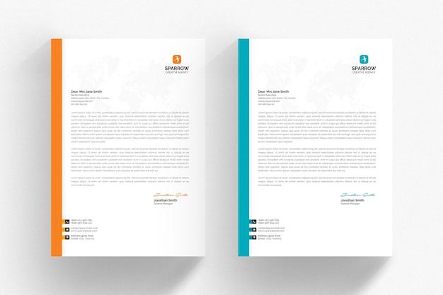 Szablon biały papier firmowy z detalami w kolorze turkusowym i pomarańczowym