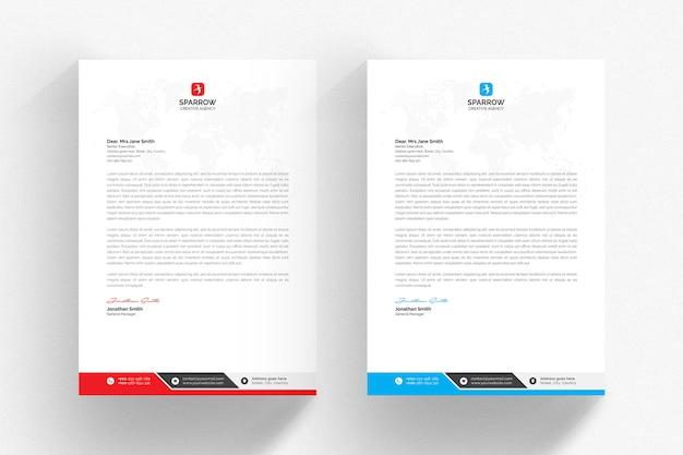 Szablon biały papier firmowy ze szczegółami niebieski i czerwony