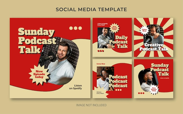 Szablon brandingu w mediach społecznościowych na instagramie dla podcastu w stylu retro