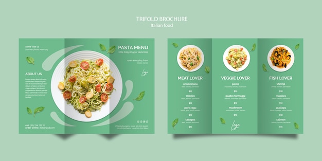 Szablon broszura z koncepcją włoskiego jedzenia