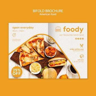 Szablon broszury amerykańskiej żywności bifold