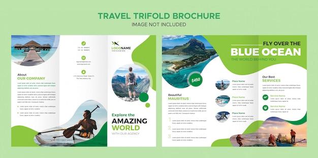 Szablon broszury podróży trifold