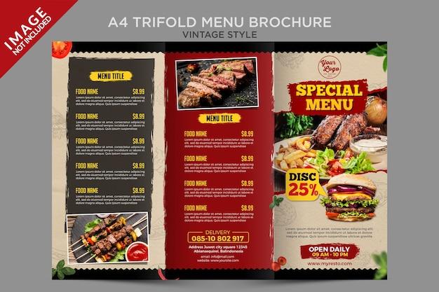 Szablon broszury potrójne menu w stylu vintage