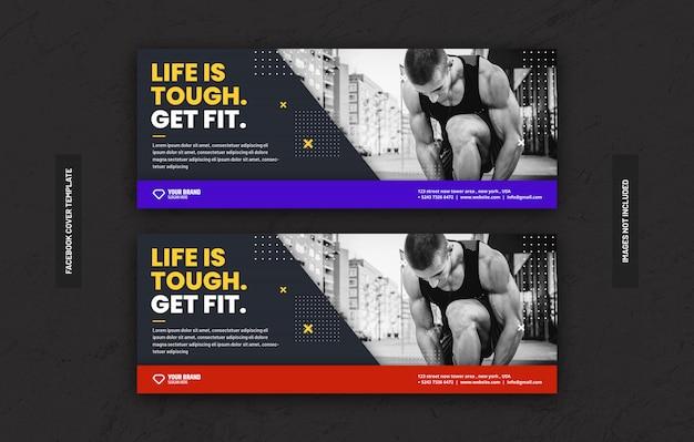 Szablon centrum treningowego siłowni do publikacji w mediach społecznościowych na stronie tytułowej na facebooku