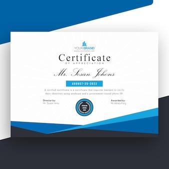 Szablon certyfikatu profesjonalnego niebieskiego biznesu