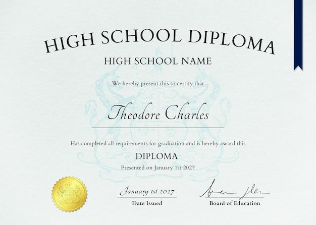 Szablon certyfikatu tekstury papieru psd z ozdobami dla liceum