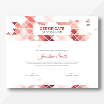 Szablon certyfikatu trójkąty