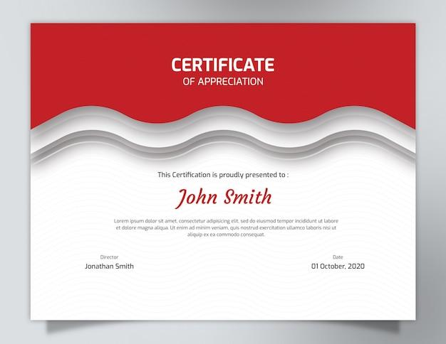 Szablon certyfikatu z czerwonymi falami ze wzorem wieloboku