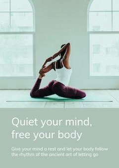 Szablon ćwiczeń jogi psd dla zdrowego stylu życia na plakat reklamowy