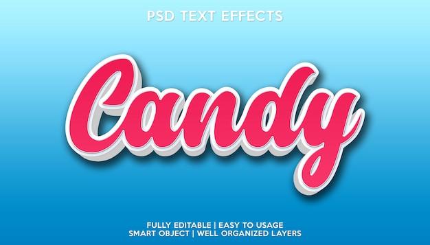 Szablon czcionki tekstowej z efektem tekstowym cukierków