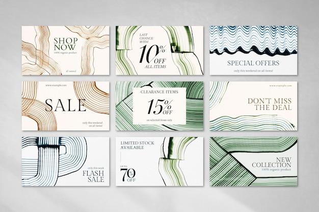 Szablon do malowania grzebienia na zakupy psd abstrakcyjny zestaw bannerów marketingowych