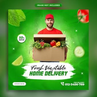 Szablon dostawy świeżych warzyw spożywczych na instagramie post promocji