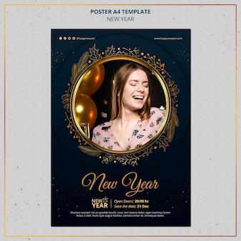 Szablon druku nowego roku ze złotymi detalami