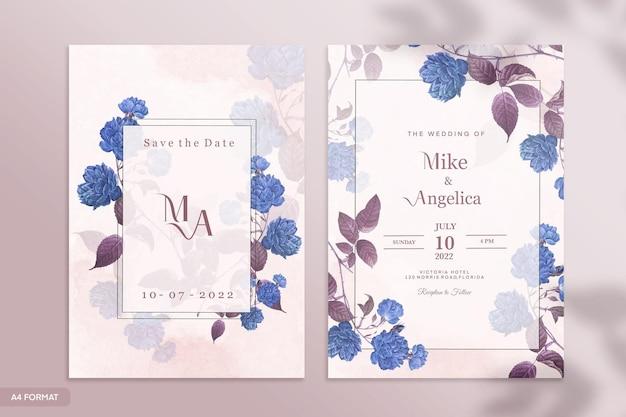 Szablon dwustronnego zaproszenia ślubnego z niebieskim i fioletowym kwiatem