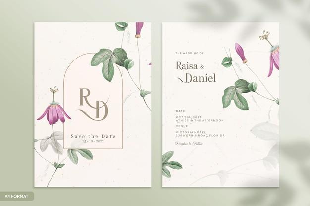 Szablon dwustronnego zaproszenia ślubnego z zielonym i fioletowym kwiatem